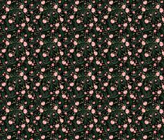 winter floral // pine on black // extra small fabric by ivieclothco on Spoonflower - custom fabric