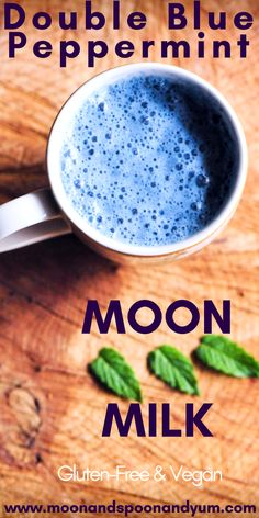 >>>Visit>> Double Blue Peppermint Moon Milk (Vegan & Gluten-Free) - A soothing antioxidant-rich delicious and comforting Double Blue Peppermint Moon Milk. A relaxing gluten-free vegan brew for stressful days and sleepless nights. Yummy Drinks, Healthy Drinks, Healthy Recipes, Healthy Food, Simple Recipes, Refreshing Drinks, Smoothies, Smoothie Recipes, Vegan Gluten Free