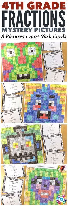 """I LOVE these mystery pictures for reinforcing concepts!"" These 4th Grade Fractions Mystery Pictures are perfect for practicing key 4th grade Common Core fractions standards. This set includes 8 different pictures and over 190 task cards covering equivalent fractions, comparing fractions, adding fractions, subtracting fractions, converting mixed numbers and improper fractions, multiplying fractions by whole numbers, and converting fractions to decimals!"