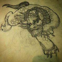 Japanese Tattoo Sleeve Samurai, Japanese Tattoo Women, Japanese Tattoo Symbols, Japanese Tattoo Art, Japanese Tattoo Designs, Samurai Tattoo, Tattoo Outline Drawing, Outline Drawings, Japanese Foo Dog