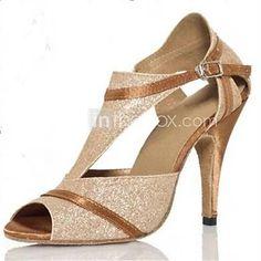 26.99  Women s Latin Shoes   Ballroom Shoes Paillette Sandal Sequin    Buckle Customized Heel Customizable Dance Shoes Gold   Suede 5bfc1c424276