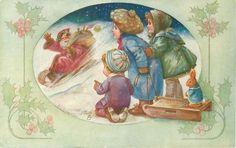 three children watch Santa coming down hill on toboggan24/12/1912