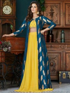 Latest Collection of Lehenga Choli Designs in the gallery. Lehenga Designs from India's Top Online Shopping Sites. Party Wear Indian Dresses, Designer Party Wear Dresses, Indian Fashion Dresses, Indian Gowns Dresses, Dress Indian Style, Indian Designer Outfits, Indian Outfits, Long Dress Design, Stylish Dress Designs