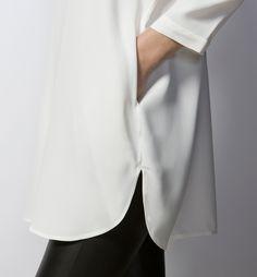 BLUSÓN LARGO CUELLO MAO - Blancas - Camisas & Blusas - WOMEN - España - Massimo Dutti