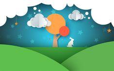 Download wallpapers paper landscape, spring, origami, spring landscape, field, tree, rabbit