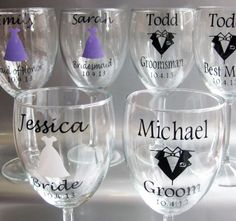 Items similar to Eat, Drink and Be Married Personalized Wine Glass Decals, DIY Wedding Decals, Custom Wedding Wine Glass Decals, Glasses NOT Included on Etsy Wedding Glasses, Wedding Favors, Diy Wedding, Wedding Gifts, Wedding Decorations, Wedding Ideas, Wedding Stuff, Cricut Wedding, Wedding Things