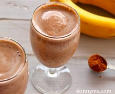 Chocolate Peanut Butter Paradise Smoothie - a dessert-like combo that's only 116 calories. #healthyideas #smoothie #drinks
