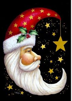 Toland Home Garden Santa Moon 28 x 40 Inch Decorative Winter Christmas Holiday Celestial Star House Flag Noel Christmas, Father Christmas, Winter Christmas, Christmas Crafts, Christmas Decorations, Christmas Ornaments, Xmas, Christmas Countdown, Christmas Greetings