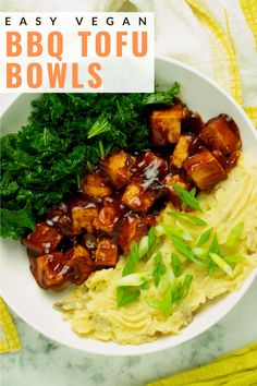 Sticky baked bbq tofu is the star of this flavor-packed vegan bowl. While the tofu bakes, you have plenty of time to make the creamy mashed potatoes and massaged kale for a one-bowl plant-based meal!  #bbqtofu #recipe #bowl #baked #vegan Fluffy Mashed Potatoes, Cubed Potatoes, Mashed Cauliflower, Vegan Barbecue, Bbq Tofu, Tofu Recipes, Vegan Recipes Easy, Recipe Bowl, Homemade Bbq