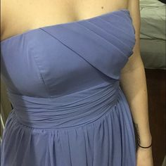"""Alfred Angelo Formal Prom Gown Alfred Angelo formal gown/bridesmaids dress. Lavendar, original length (I'm 5'6"""" and its a little too long on me if I don't wear heels). Dress is a size 2 ( I am a 34C or 32D and the bust fits well... Very easy to fit most busy sizes). This dress is easy to get hemmed. There is a small spot where the dress is frayed at the bottom, but perfect if you need to hem it anyway :) comes with original hanging bag with logo. Alfred Angelo Dresses Prom"""