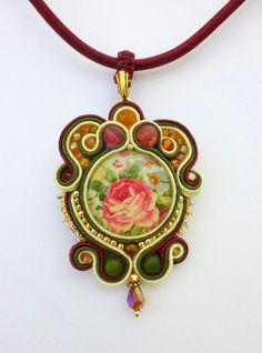 Vintage Rose Soutache Pendant, Cranberry, Ivory and Dark Olive Green Soutache Pendant. $55.00, via Etsy.