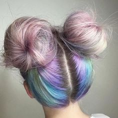 Multicoloured rainbow double buns updo hairstyles - Updo Hairstyles to try this summer – 14 different hair buns