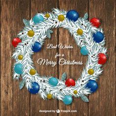Free vector White christmas wreath #33487