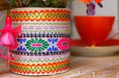 Upcycled fabric storage pot, vase or candle holder
