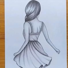 How to draw easy Girl Drawing for beginners - Step by step Easy Pencil Drawings, Hipster Drawings, Girl Drawing Sketches, Art Drawings Sketches Simple, Cute Easy Drawings, Drawing Ideas, Disney Drawings, Drawing Tips, Beautiful Drawings