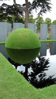 water feature in reflecting pond Topiary Garden, Garden Art, Topiaries, Garden Ideas, Modern Landscaping, Garden Landscaping, Landscaping Tips, Landscape Architecture, Landscape Design