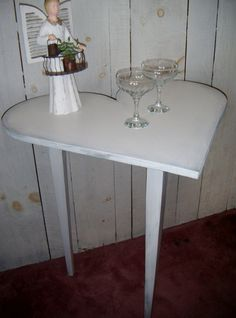 Sweet shabby chic HEART SHAPED table - side table, wedding favor table, little girl's room