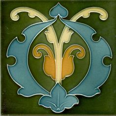 English Art Nouveau Flower Tile,  c. 1900