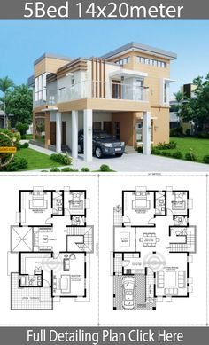 Home Design Plan with 5 Bedrooms – Home Design with Plansearch Home Design Plan mit 5 Schlafzimmern – Home Design mit Plansuche Two Storey House Plans, 2 Storey House Design, Duplex House Design, House Front Design, Small House Design, Modern House Design, House Plans Mansion, Dream House Plans, Modern House Plans