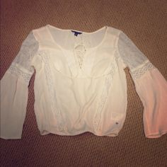 American Eagle top Lace Off white American Eagle top. Long sleeve. New without tags. Size Small. American Eagle Outfitters Tops