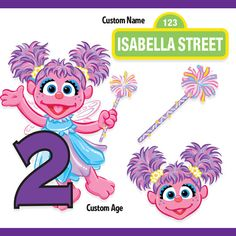 Custom Printable Sesame Street Abby Cadabby Centerpiece Displays / Abby Cadabby Birthday / Cake Topper