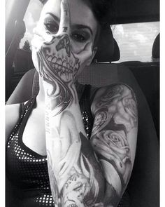 Scary Skull Sleeve Tattoo #ink #inked #tattooed #tatted (Top Design Girls)