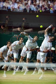 Andy Murray serving at the Wimbledon tennis championships 2012 Andy Murray Wimbledon, Wimbledon 2012, Wimbledon Tennis, Sport Tennis, Le Tennis, Tennis Tournaments, Tennis Players, Tennis Equipment, Tennis World