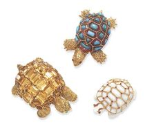 AN AMUSING GROUP OF THREE GEM-SET TORTOISES  Comprising a sculpted and textured 18k gold tortoise, with cabochon ruby eyes, a carved rhodonite shell, enhanced by vari-cut cabochon turquoise and textured gold trim; a sculpted and textured 18k gold tortoise, with cabochon emerald eyes, and a rectangular and oval-cut citrine shell; and a carved white opal tortoise, with cabochon ruby eyes, textured and polished gold trim, enhanced by circular-cut ruby accents