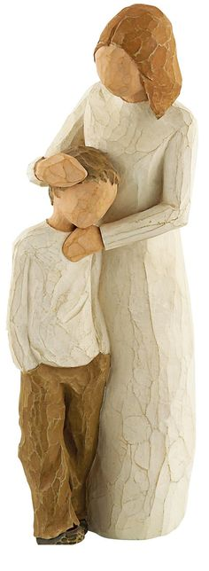 """[""""Sometimes the only thing a little boy needs is his mother's love and comfort. This Willow Tree <i>Mother and Son<\/i> figurine demonstrates that bond between mother and child, as she holds her son close and soothes him in his distress. A perfect gift from a son to his mother - or from mother to son - this figure will be a constant reminder of her unconditional love.<br><br>Figurine is made of resin and stands 8\"""" tall.<br><br>Sentiment on enclosed card reads: \""""Celebrating the bond of love…"""