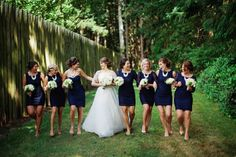 Navy mismatched bridesmaid dresses | Photo by Ryan Flynn