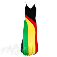 This long v-neck rasta and reggae dress has the rasta stripes down the front in a wave design. The material is light weight and sheer.Hand Wash cold water. Do not dry. 95% rayon