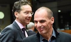 Greece's finance minister Yanis Varoufakis (right) and Eurogroup President and Dutch Finance Minister Jeroen Dijsselbloem at today's meeting of EU finance ministers.