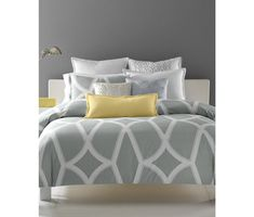 gray and yellow bedroom interior contemporary bedroom design light gray shades white furniture Yellow Gray Bedroom, Grey Room, White Bedroom, Yellow Bedding, Grey Bedding, Yellow Bedrooms, Bedding Sets, Luxury Bedding, Pastel Bedroom