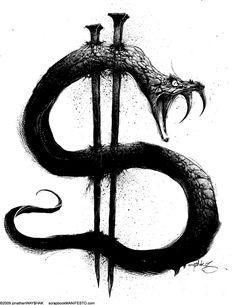 Kritzelei Tattoo, Money Tattoo, Snake Tattoo, Leg Tattoos, Body Art Tattoos, Sleeve Tattoos, Tattoos For Guys, Dark Art Drawings, Tattoo Design Drawings