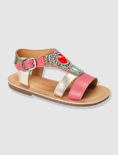 Sandale fille spéciale maternelle en cuir BLEU CIEL+Rose - vertbaudet enfant Girls Sandals, Girls Shoes, Huarache, Clogs, Mode Chic, Girls World, Chic Dress, My Baby Girl, Cute Shoes