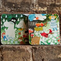 Set Of Four Moomin Coasters: Four cute Moomin coasters, each depicting a different fragment of the story.  - Wooden with felt underside to avoid slipping