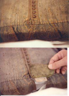 Circa 1610 Green Silk cut doublet Janet Arold P25 front detail tabs