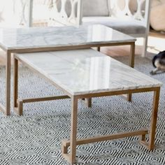 walmart glass coffee table sets Collection-Marble Nesting Tables for the Living Room sarah m . Faux Marble Coffee Table, Large Coffee Tables, Marble Tables, Coffee Table Inspiration, Cube Table, Contemporary Side Tables, Sofa, Nesting Tables, Round Dining Table