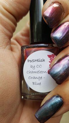 Unique Chameleon Color Shifting Orange - Blue Nail Polish Full Size 15ml Bottle by PoSHlish on Etsy