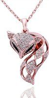 Lefinis 18K Rose Gold Plated Fox Crystal Pendant Necklace, 18""