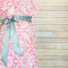 Pink Damask Maternity Delivery Gown, Robe, Headband, and Burp Pad Bundle - Set to make your delivery Picture Perfect!