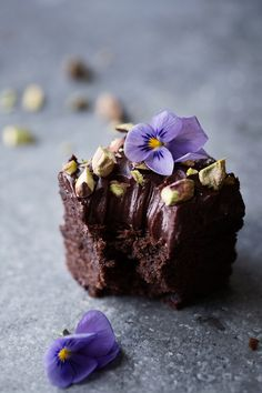 Double chocolate brownies with salted fudge frosting.