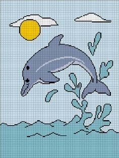Free printable cross stitch patterns free cross stitch sea quilt splashing dolphin crochet afghan pattern graph dt1010fo