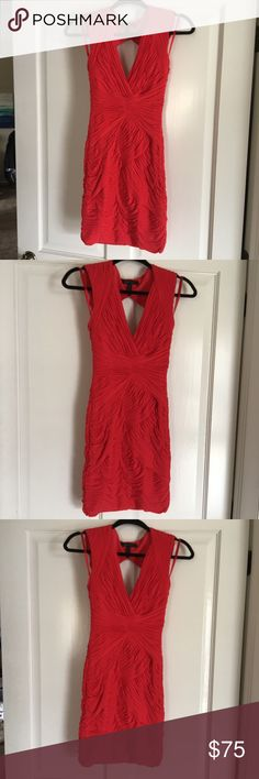BCBG Red Crepe Open Back Dress BCBGMaxAzria NWOT ruched dress. Super cute form fitting dress. Open back. Dress is stretchy with zipper closure. I love this dress but it has been hanging unworn in my closet, so off it goes. BCBGMaxAzria Dresses Mini