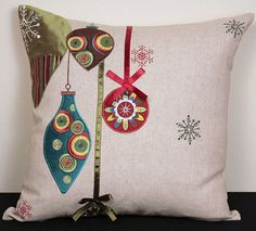 Xia Home Fashions Noel Ornaments Embroidered Holiday Pillow | Wayfair