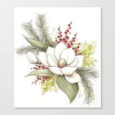 Christmas Magnolia Watercolor Canvas Print