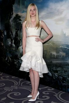 Elle Fanning at the London Maleficent photocall.