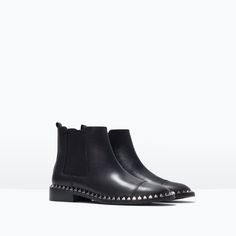ZARA - SHOES & BAGS - STUDDED LEATHER ANKLE BOOT