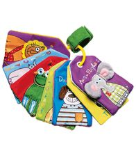 """Tiny Tillia Friends Touch Cards. Seven 5 1/2"""" H x 3 1/4"""" W cards help teach colors and animals. Crinkly and embroidered with textured 3-D details. With a loop for attaching to strollers, car seats and more. Polyester. Imported."""