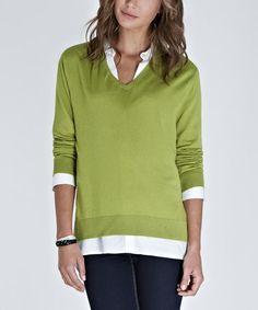 Take a look at this Citrus Green Wool-Blend Mila V-Neck Sweater by Baukjen on #zulily today!